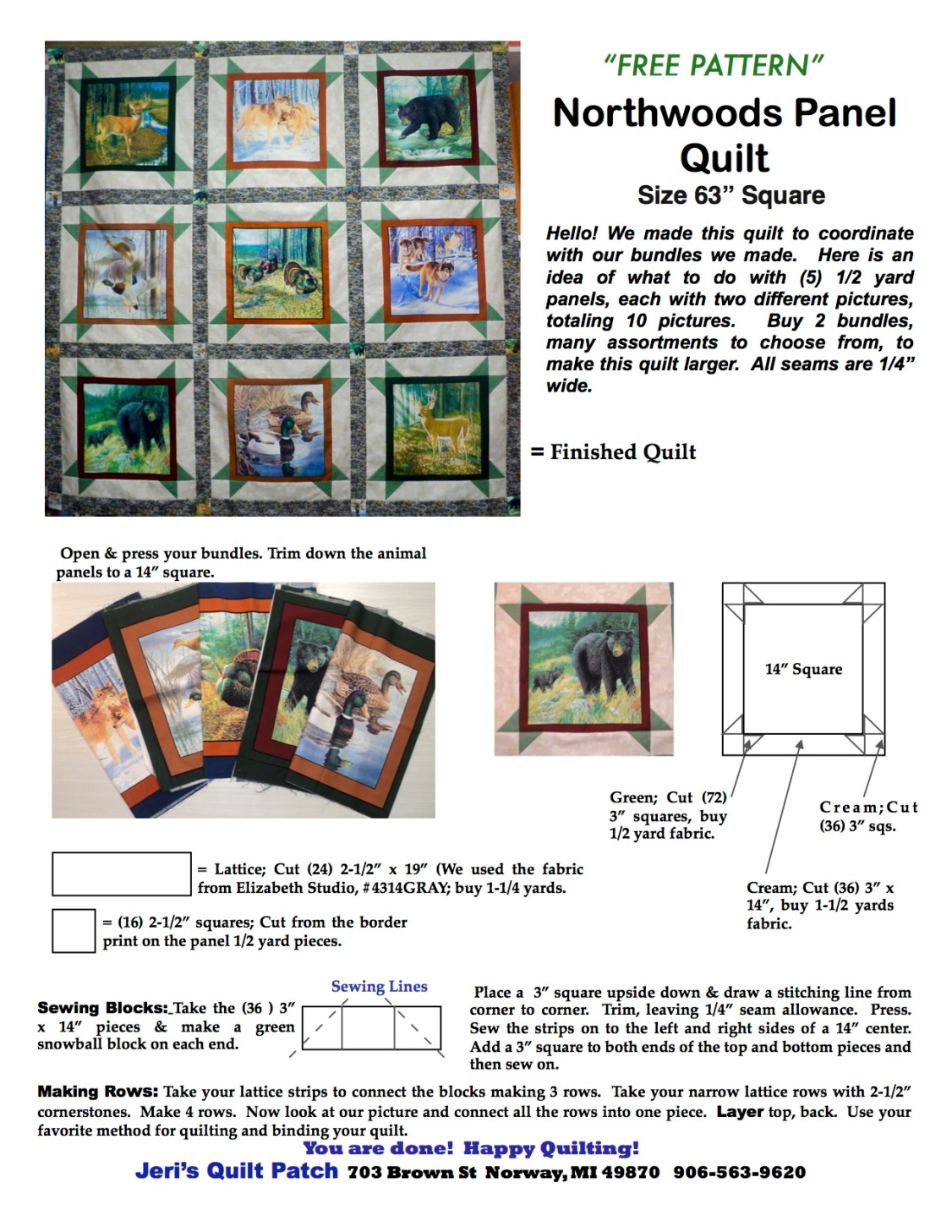Northwoods Panel Quilt Free Pattern